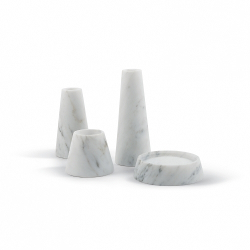 Tellus Candle Holders | Carrara Marble