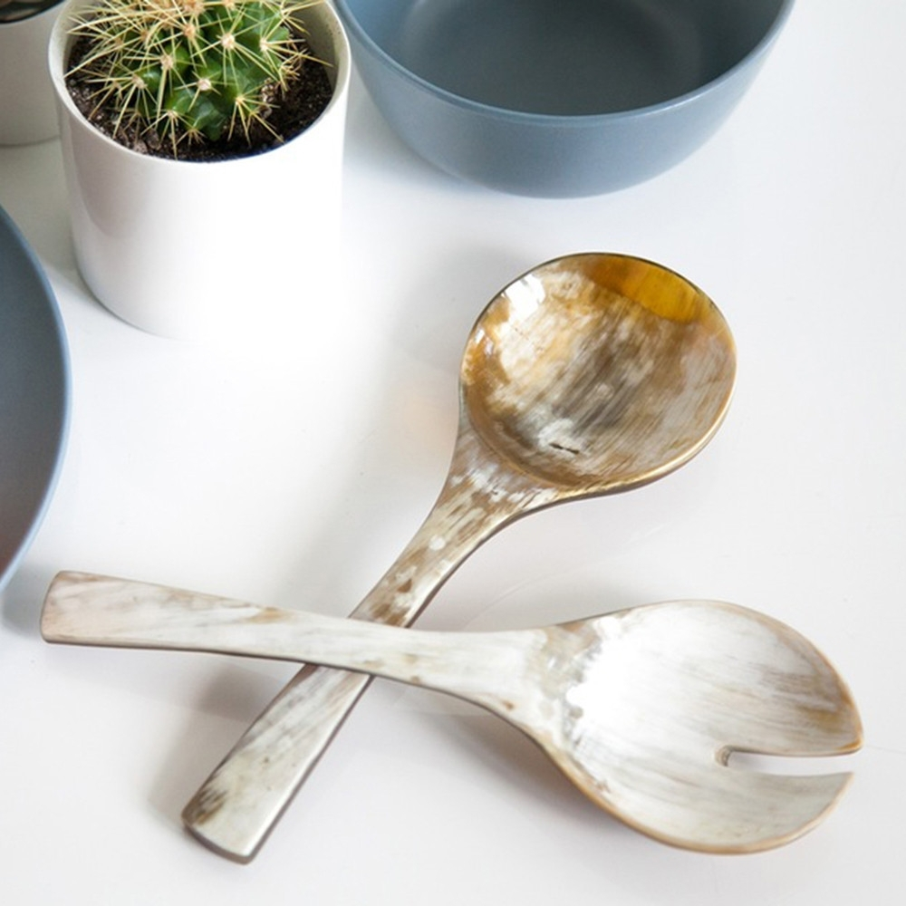 Cow Horn Serving Spoon Set, Rose & Fitzgerald
