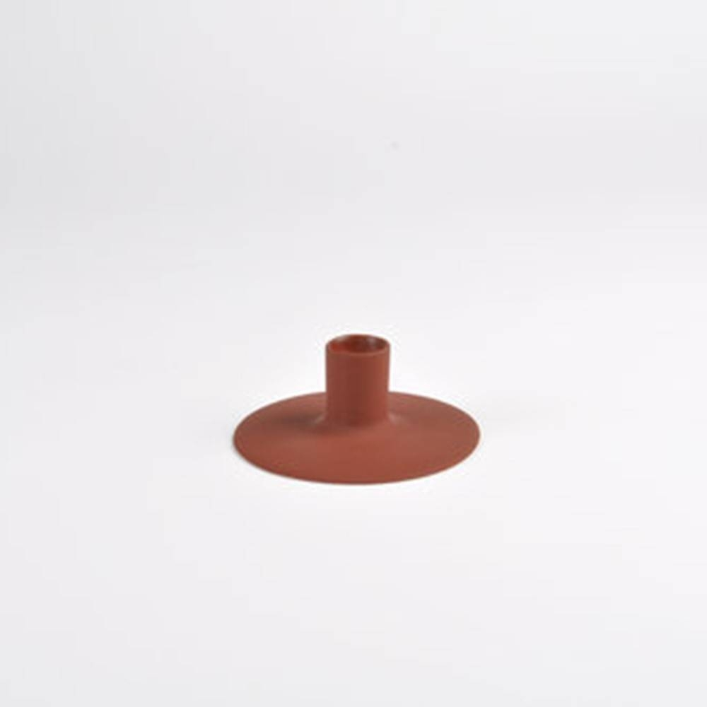 Zest Candle holder, Rust - Porcelain Candlesticks with Wubber Paint