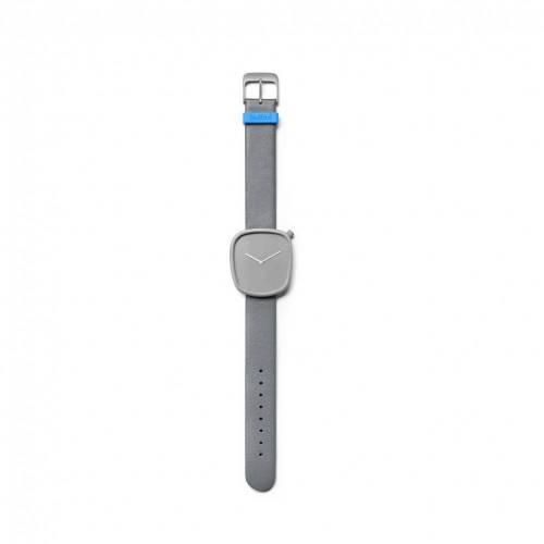 Pebble 04 - Steel Grey Leather Strap Watch