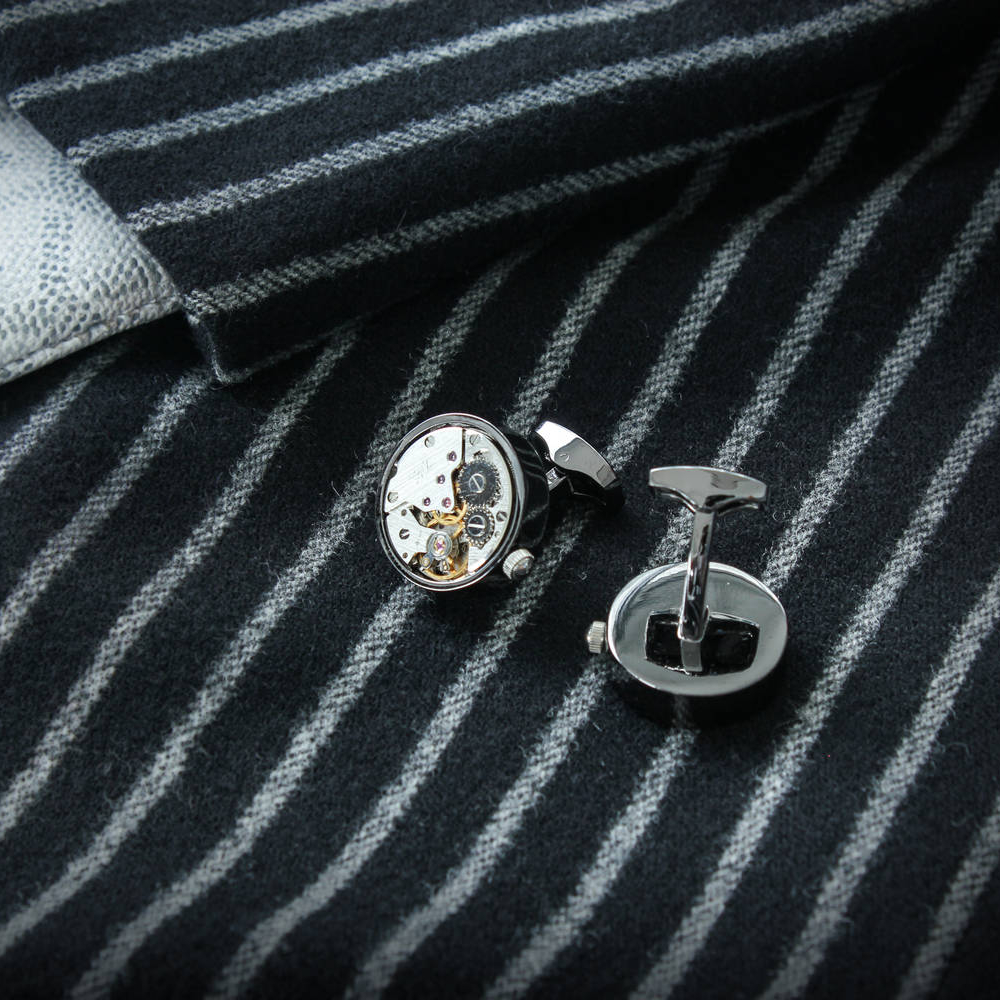 The Marlin - Steel Cufflinks made from Watch Movements