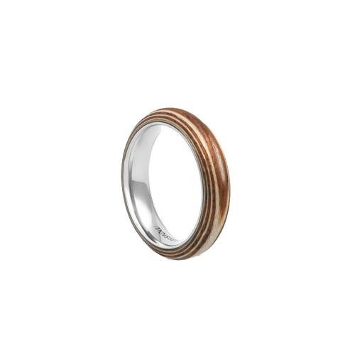 Duo Slim Ring- Wood Skin and Stainless Steel Ring