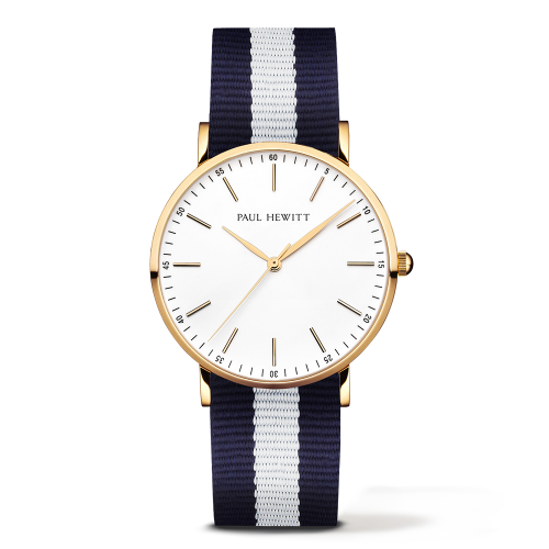 Gold Line Watch, Navy/White