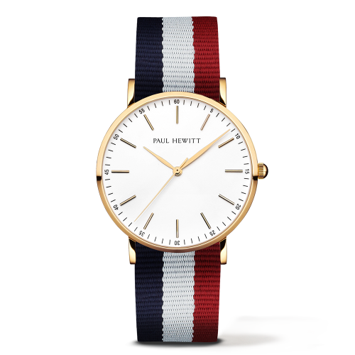Gold Line Watch, Navy/White/Red
