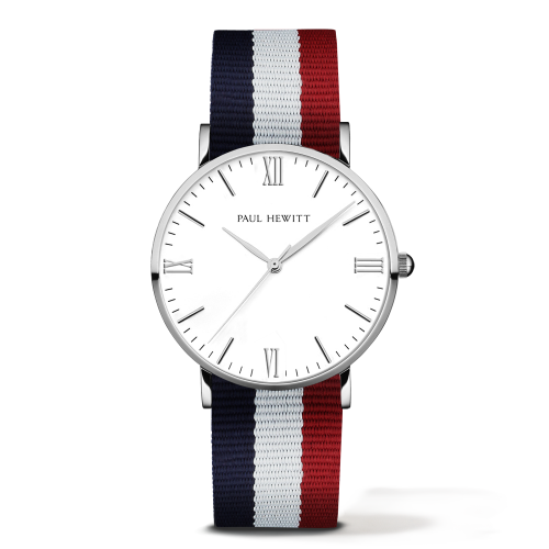 Silver Line Watch, Navy/White/Red