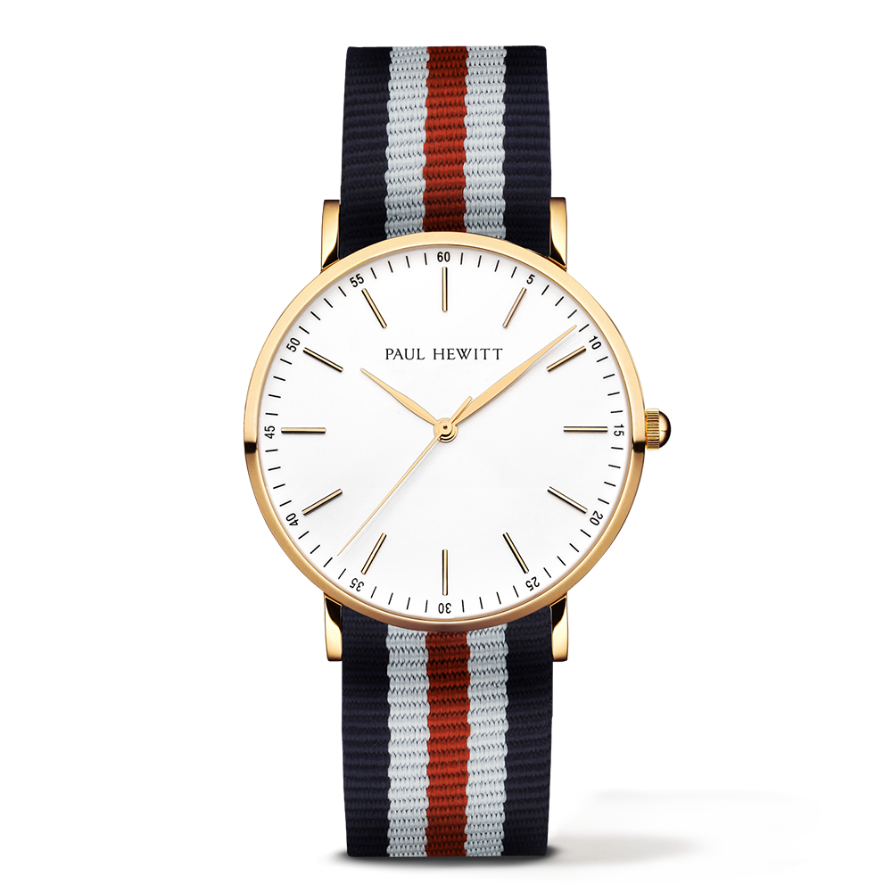 Gold Line Watch, Navy/White/Red II - Paul Hewitt