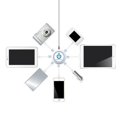 7-Port USB Universal Charging Station - Round