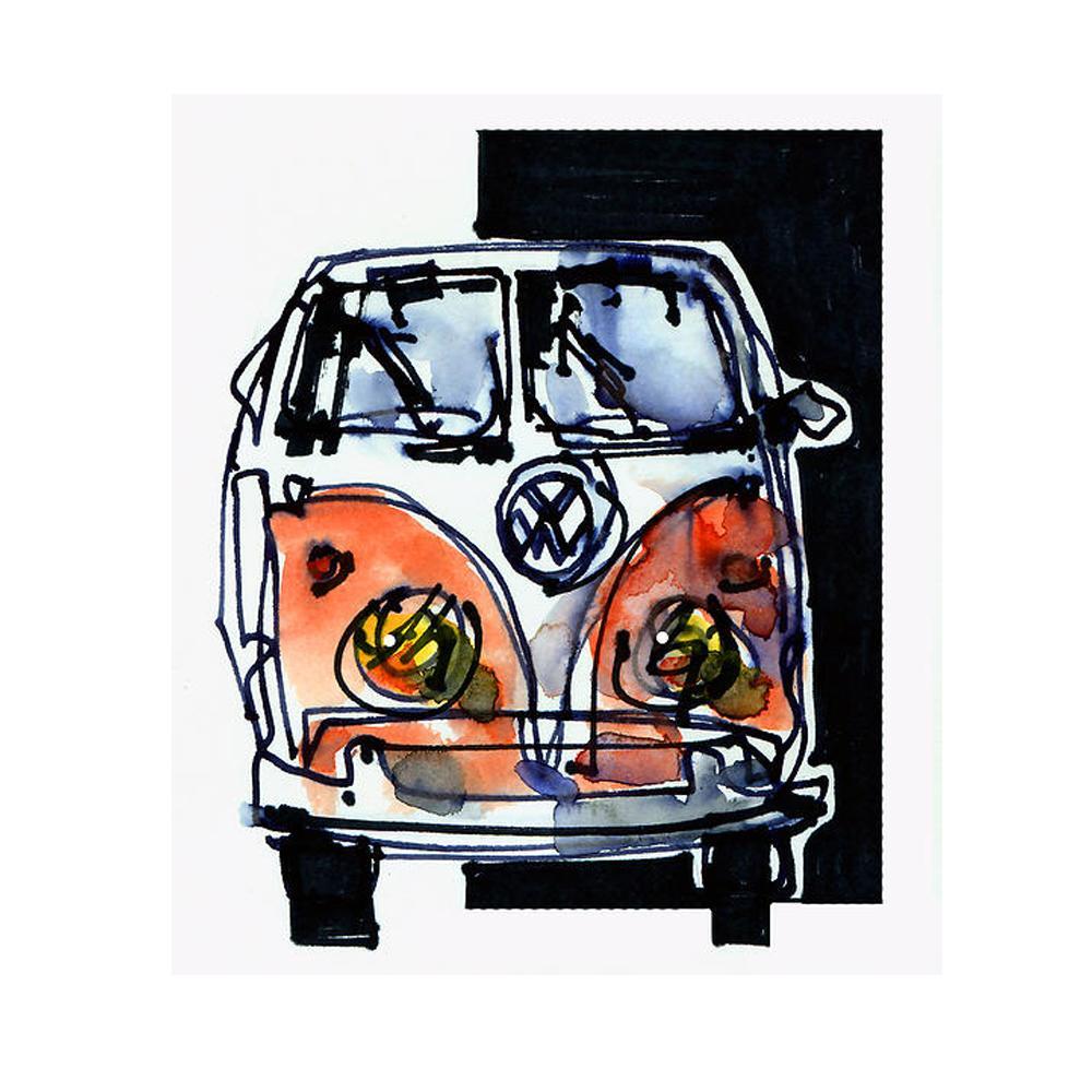Volkswagen Bus / Campervan Watercolor Print | By Bilbeisi