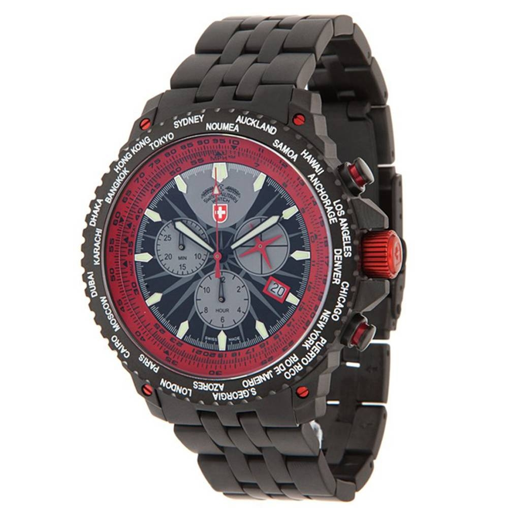 Swiss Military Watches  - HURRICANE WORLDTIMER, Red