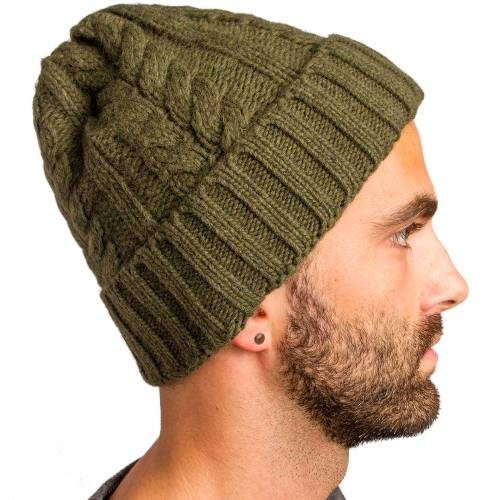 Cable Knitted Beanie | Olive