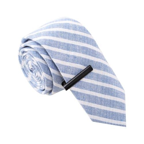 Blue & White Striped w/ Tie Clip