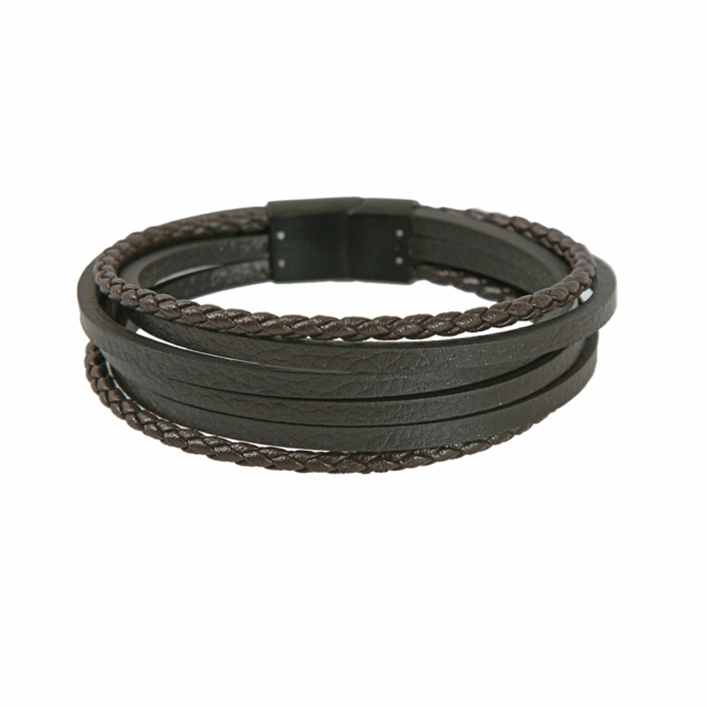 Dark Brown Leather Multi Cord Bracelet - Buttigo