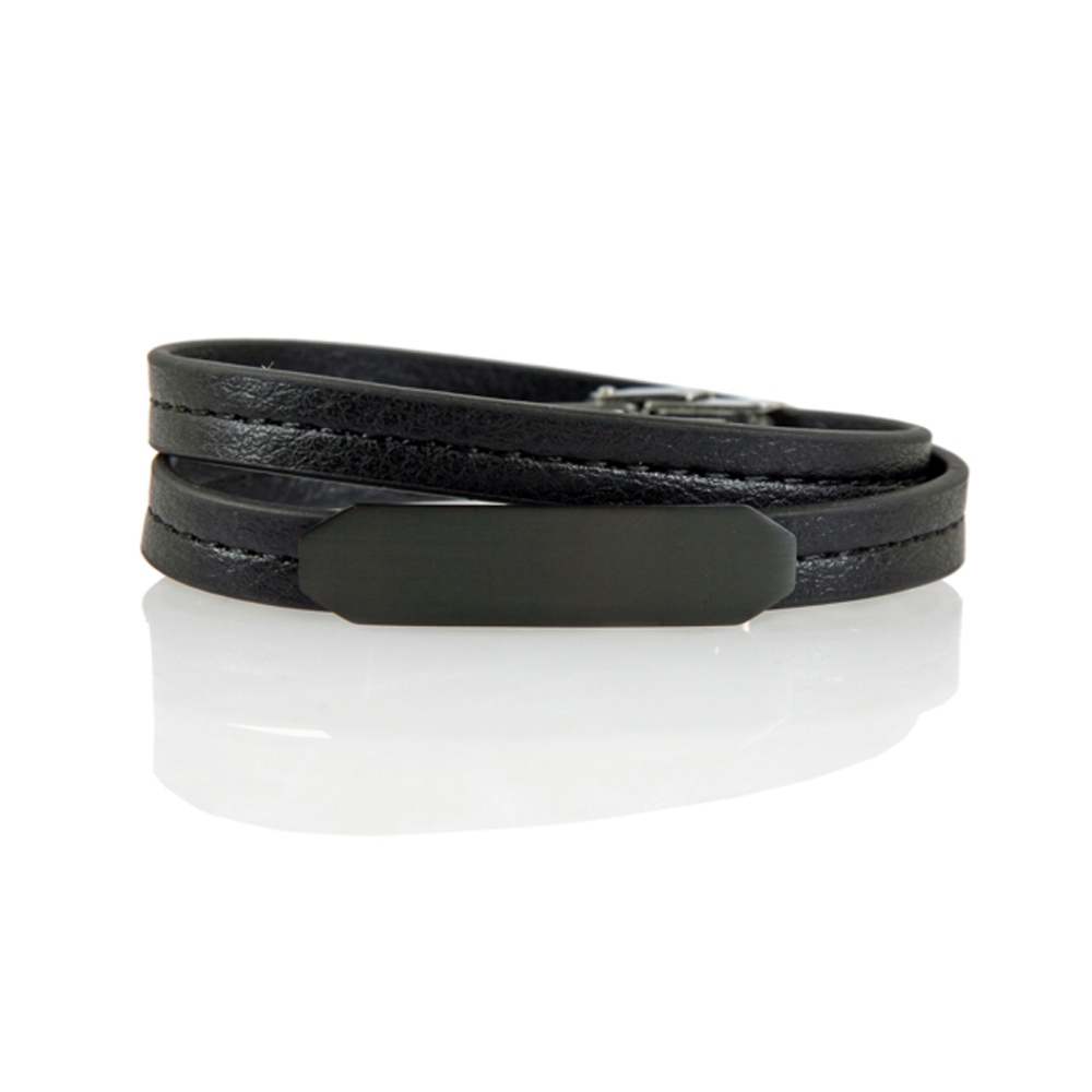 Black Nazilli Leather Bracelet - Buttigo