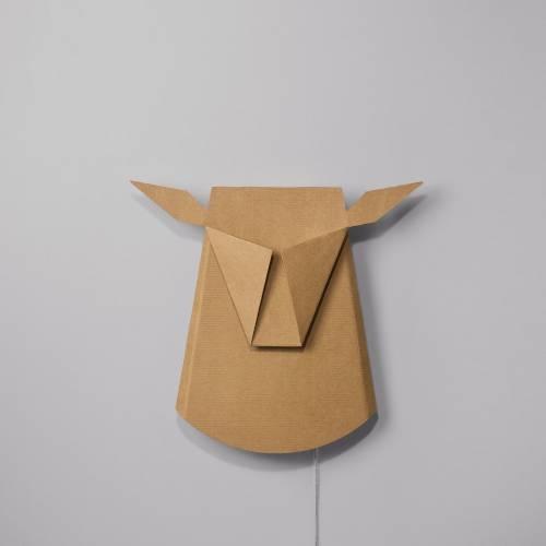 Cardboard Deer Head LED light fixture | Electricity Plug