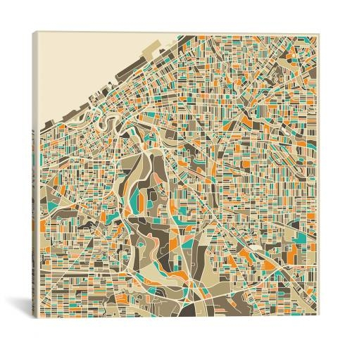 World map on stone background by michael tompsett abstract city map of cleveland by jazzberry blue gumiabroncs Gallery