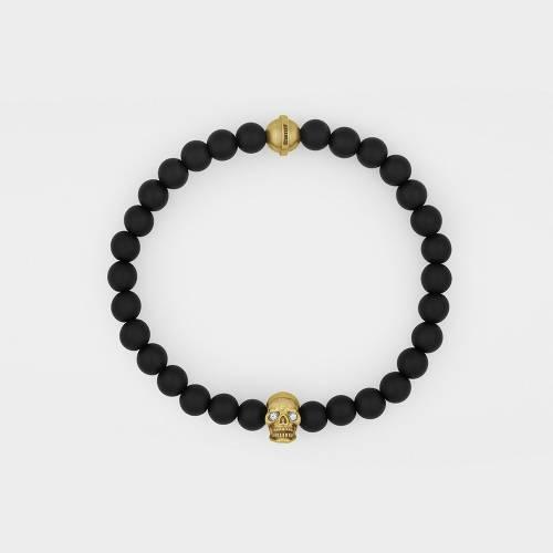 Onyx Bracelet | 18ct Gold Skull | Diamonds