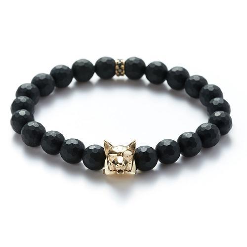 Facete Onyx | Gold Wolf Bracelet