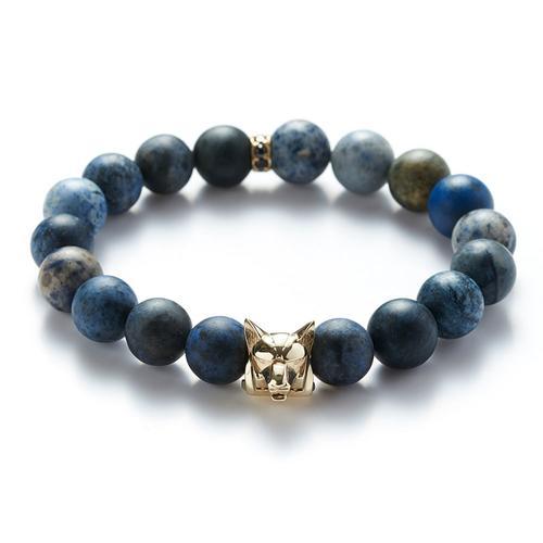 Dumortierite| Gold Wolf Bracelet