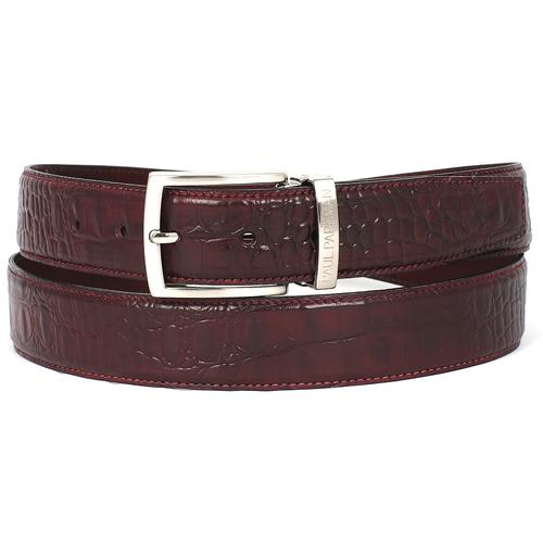 Men's Croc Embossed Calfskin Belt | Dark Bordeaux