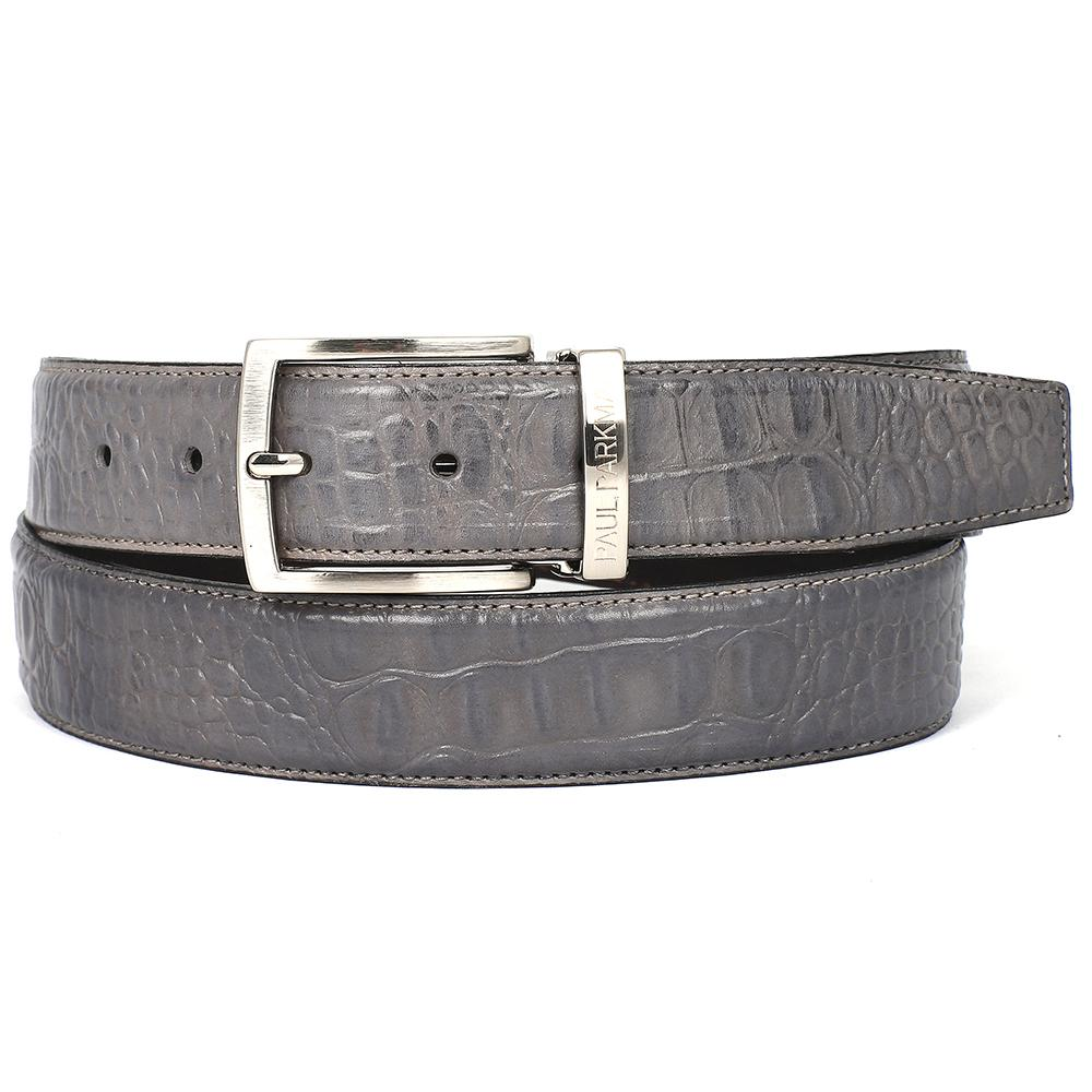 Men's Crocodile Embossed Calfskin Leather Belt | Gray