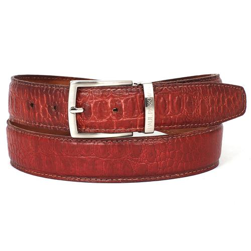 Men's Croc Embossed Calfskin Belt | Reddish