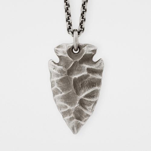 Arrowhead Pendant   Silver & Leather