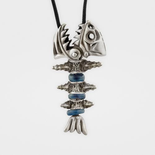 Piranha Pendant | Sterling Silver & Blue