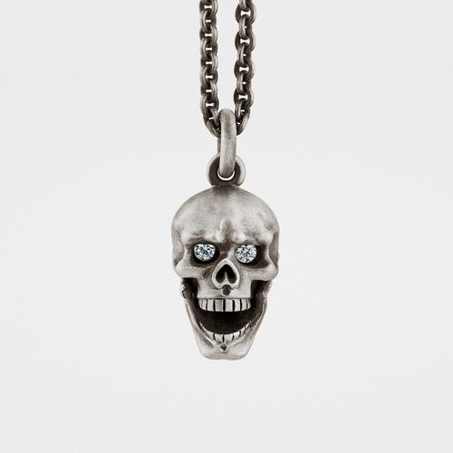 Skull Pendant | Hinged Jaw | Diamond Eyes