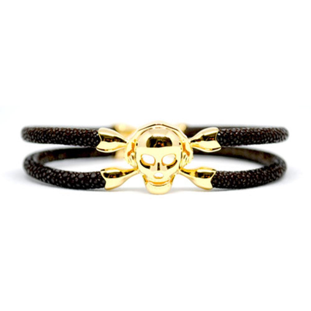 Skull Bracelet   Brown with Gold Skull   Double Bone