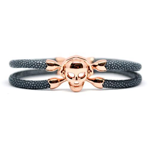 Bracelet | Single Skull | Gray/Rose Gold