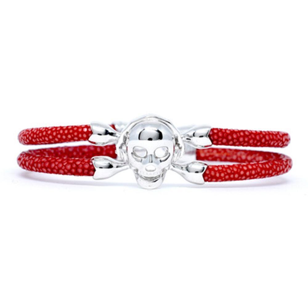 Skull Bracelet | Red with Silver Skull | Double Bone
