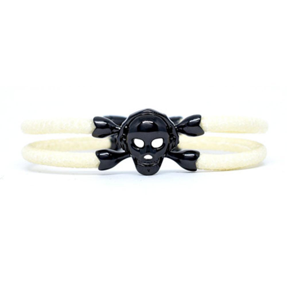 Skull Bracelet | White with Black Skull | Double Bone