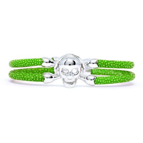 Bracelet | Single Skull | Green/Silver