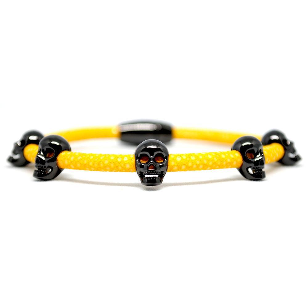Skull Bracelet | Yellow with Black Skulls | Double Bone