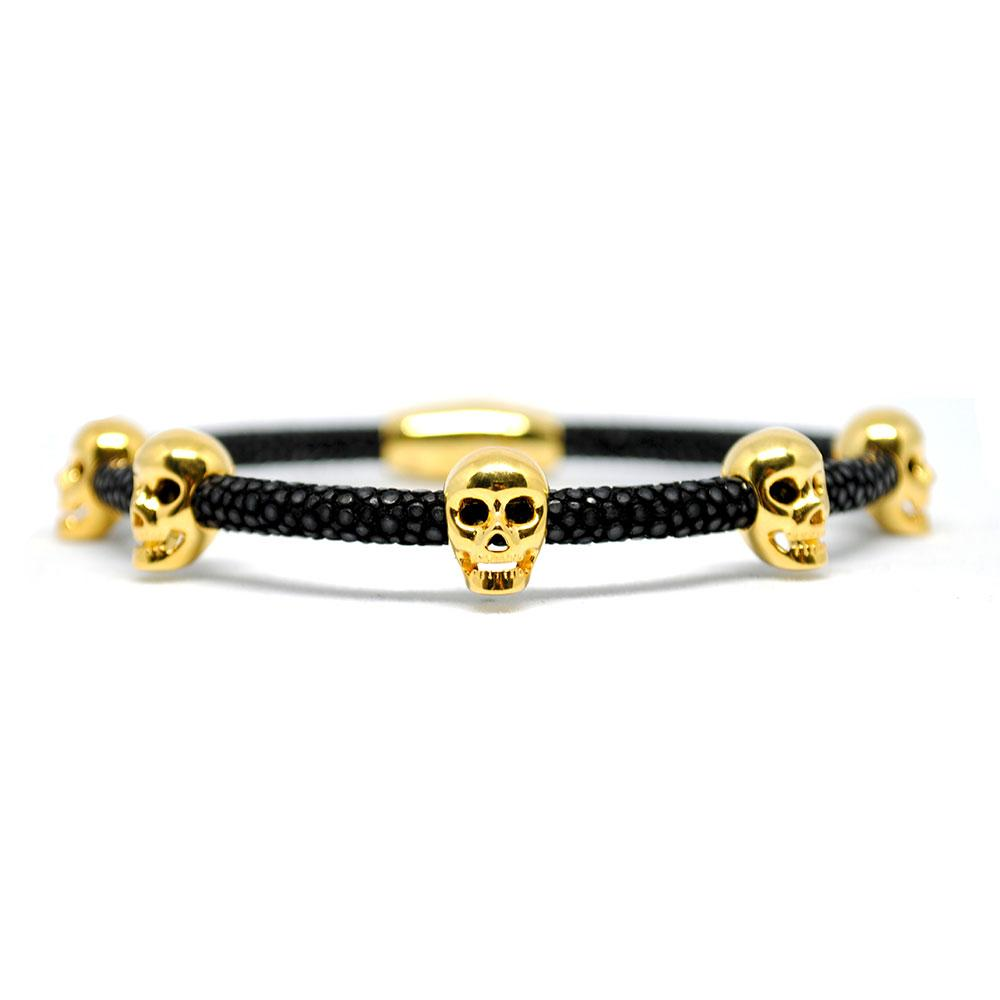 Skull Bracelet | Black with Gold Skulls | Double Bone