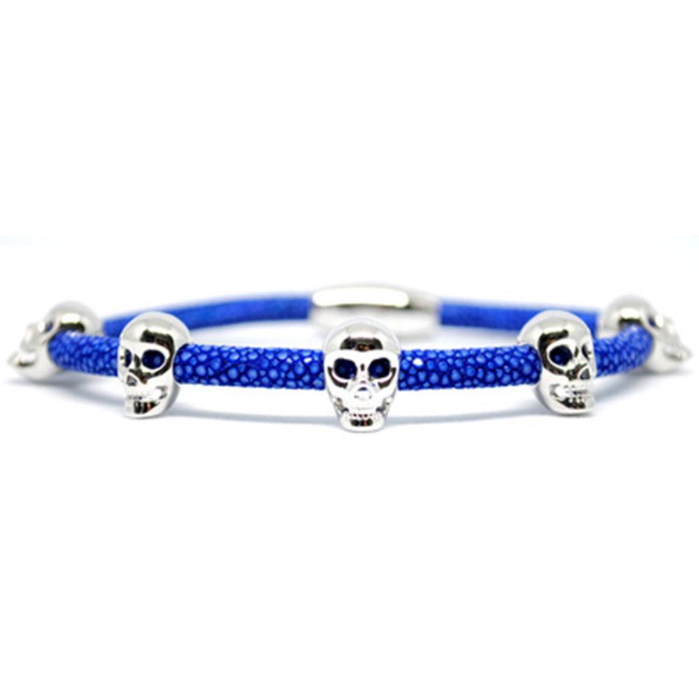 Skull Bracelet   Blue with Silver Skulls   Double Bone