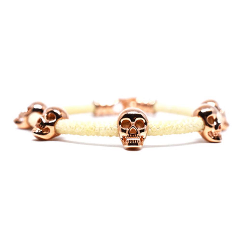 Skull Bracelet   White with Rose Gold Skulls   Double Bone