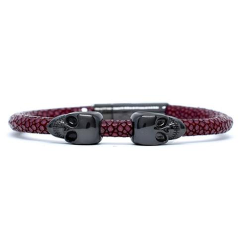 Bracelet | 2 Skulls | Red Wine/Black