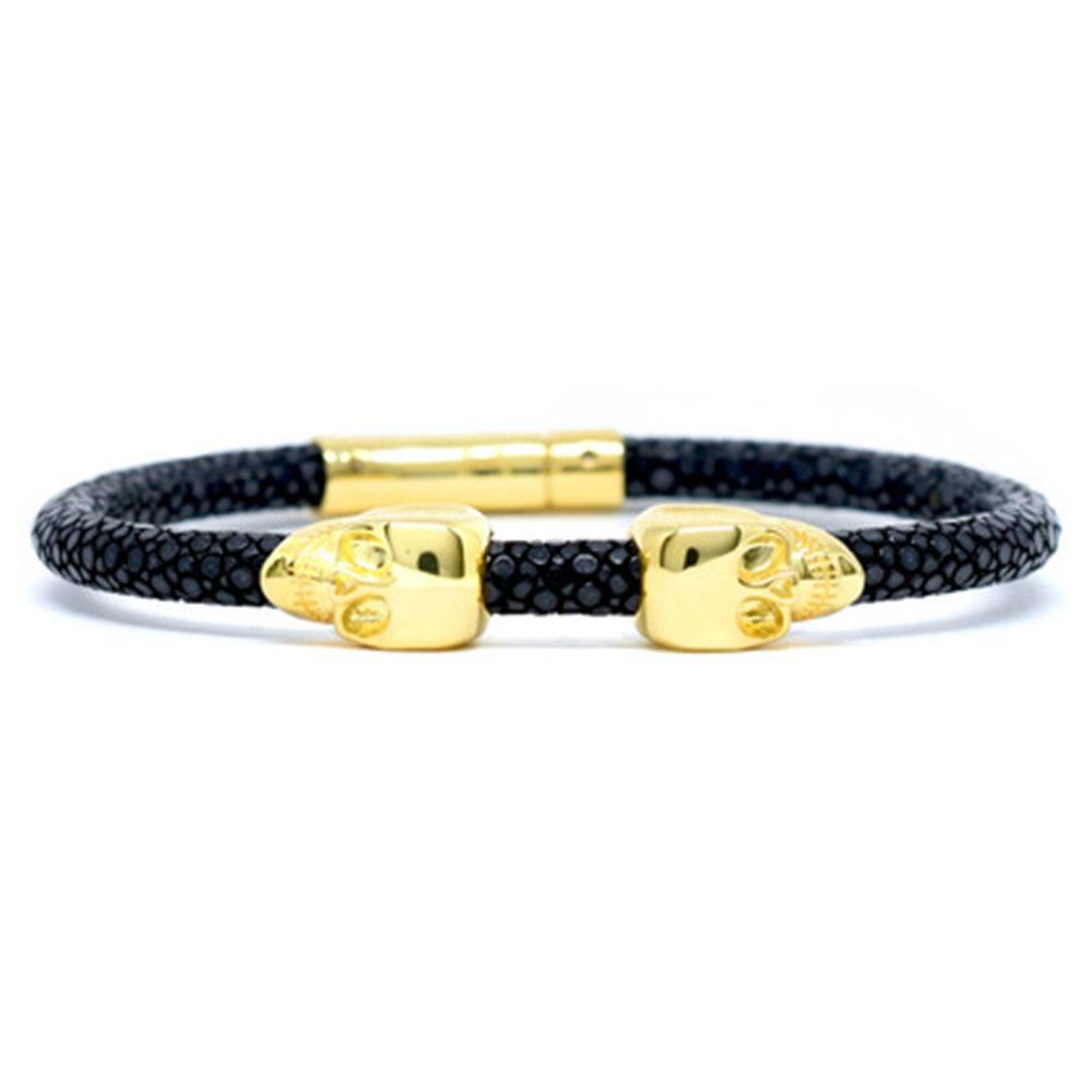 Skull Bracelet | Black | 2 Gold Skulls | Double Bone