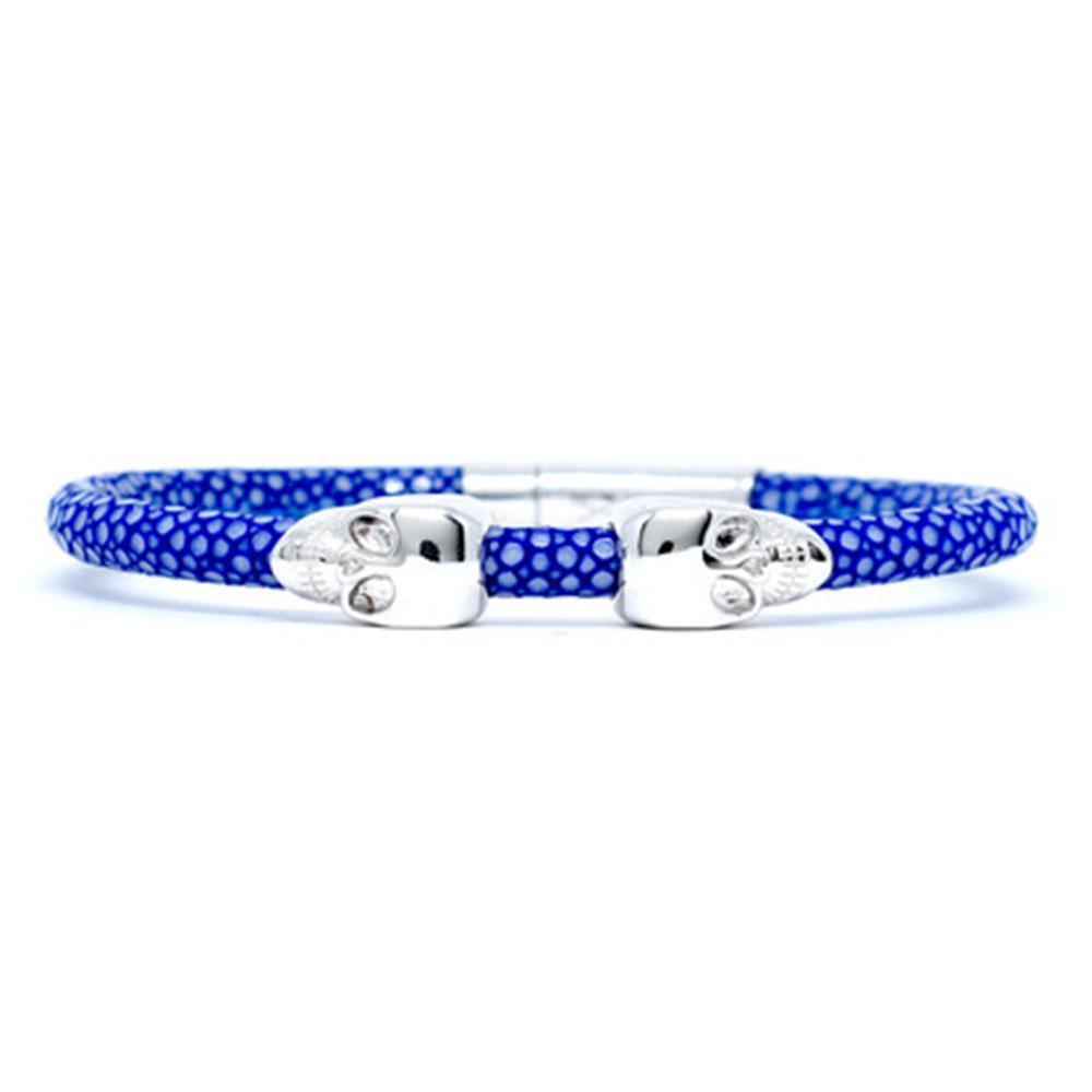 Skull Bracelet   Blue   2 Silver Skulls   Double Bone