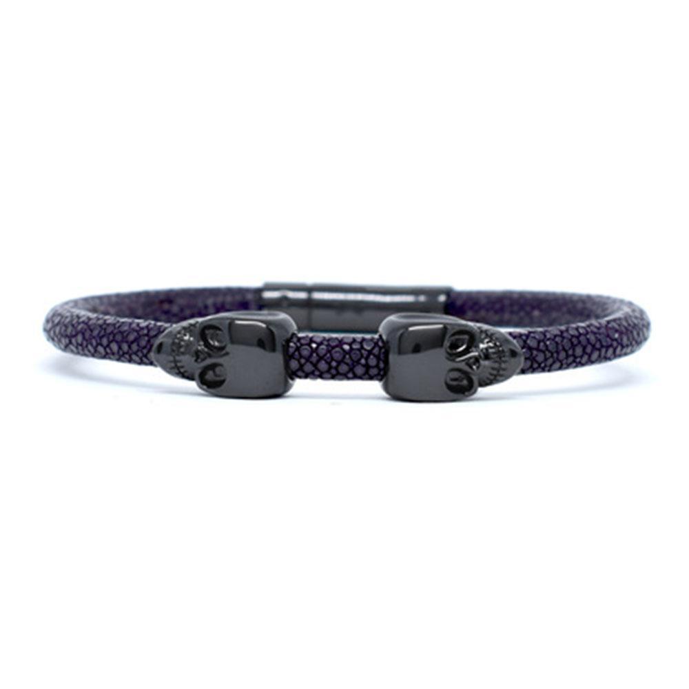 Skull Bracelet | Purple | 2 Black Skulls | Double Bone