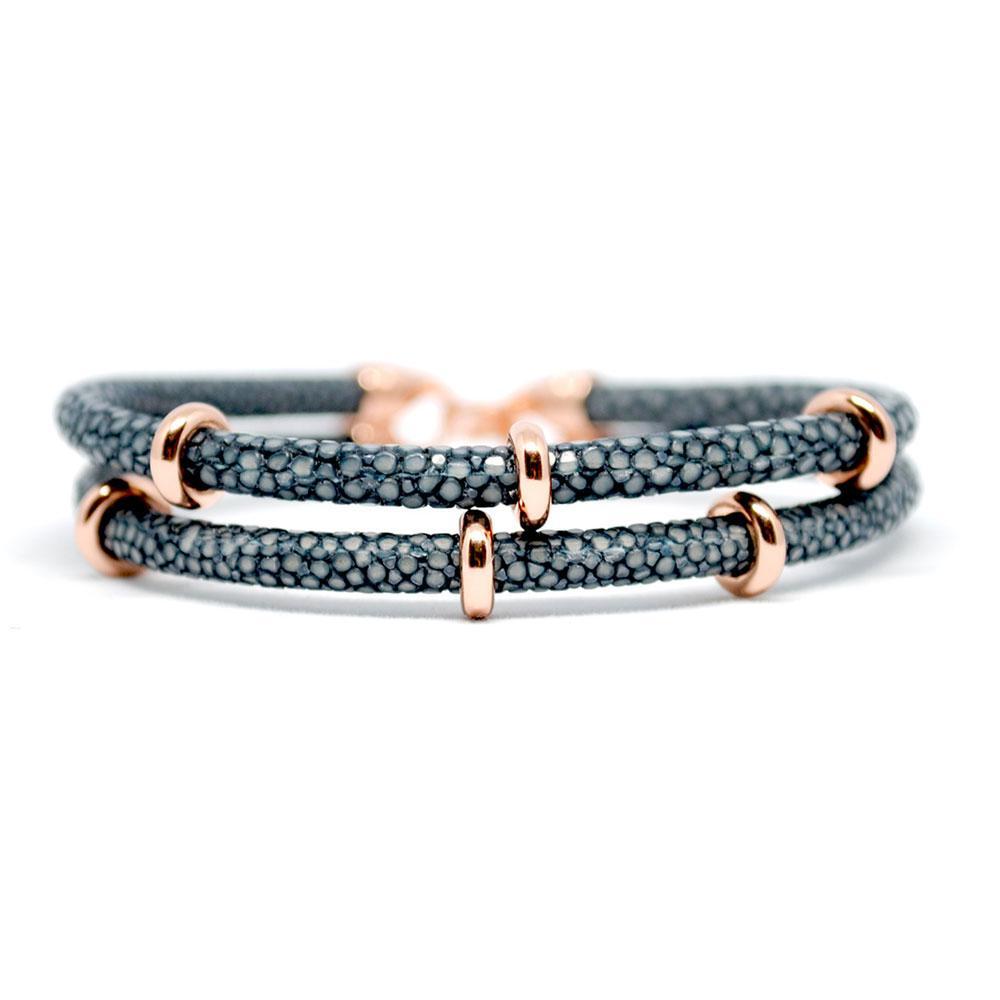 Double Stingray Bracelet | Gray & Rose Gold | Double Bone