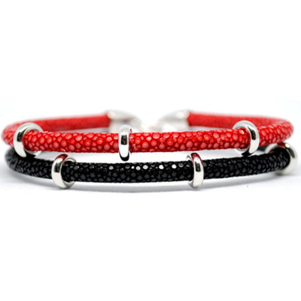 Double Stingray Bracelet | Red/Black & Silver | Double Bone
