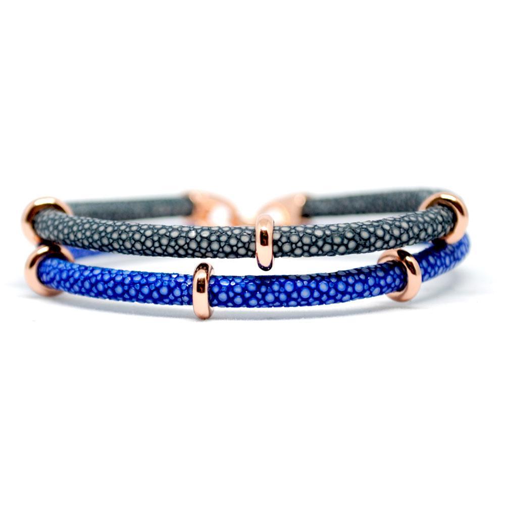Double Stingray Bracelet   Blue/Gray/Rose Gold   Double Bone