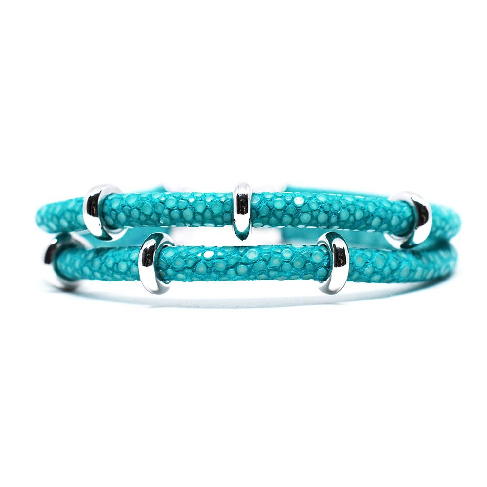 Double Stingray Bracelet | Turquoise & Silver | Double Bone