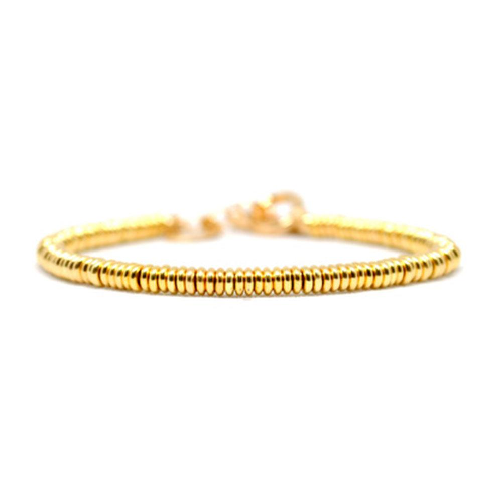 Single Beaded Bracelet   Yellow Gold Beads   Double Bone