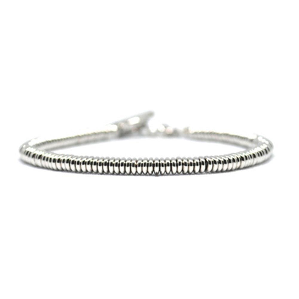 Single Beaded Bracelet   White Gold Beads   Double Bone