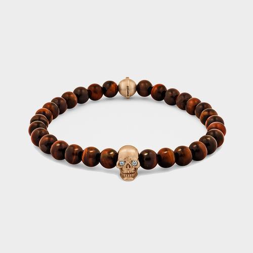 Skull Bracelet   Rose Gold w/ Diamond Eyes