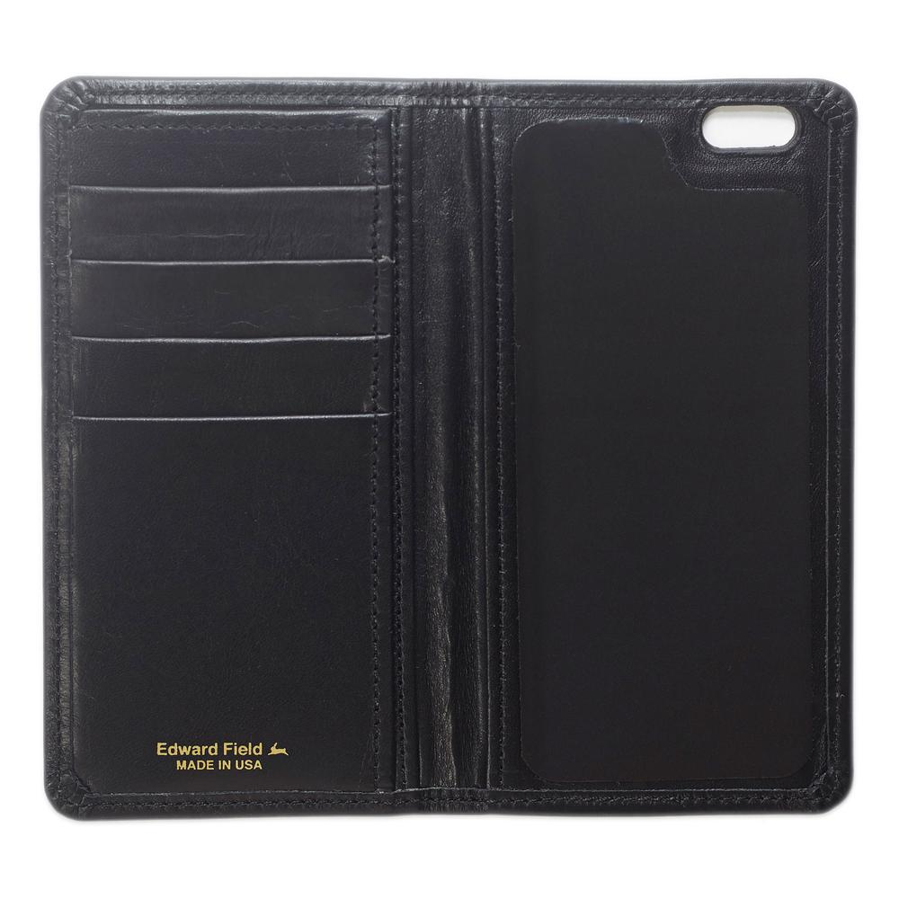 Iphone wallet black leather edward fields for Yamaha leather wallet