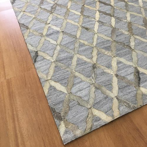 Handmade Jacquard Leather Gray Ivory Rug
